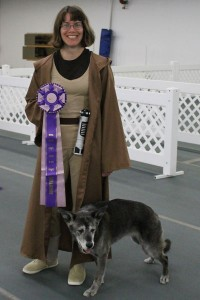 RFE Musical Freestyle Veteran Grand Champion Risa with her awesome huge rosette.